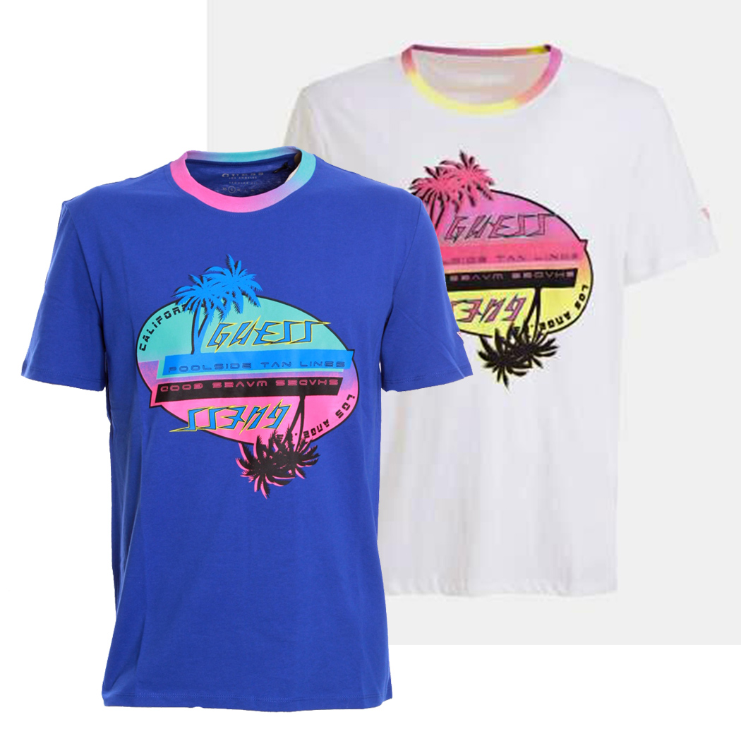 GUESS T-SHIRT UOMO MAGLIA COTONE STRETCH SPORT STAMPA FRONTALE M0GI67I3Z00