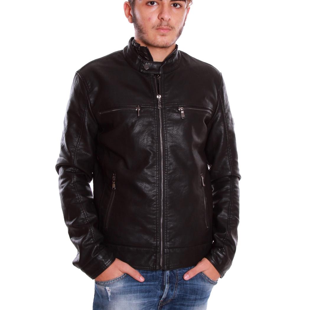 Giacca uomo ecopelle giacca giacca giubbotto ecopelle nera//Navy Nuovo