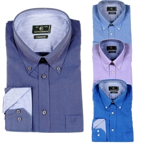 COTTONRIDGE - CAMICIA UOMO COTONE BUTTON DOWN COMODA MODA SHIRT art. UNITO