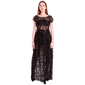 COCONUDA ABITO LUNGO TUBINO IN TULLE PAILLETTES ELEGANTE NERO DRESS EVENTO 18255