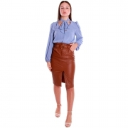 QUEGUAPA GONNA TUBINO MODA DONNA SKIRT ELEGANTE ECOPELLE BISCOTTO CORA 7300