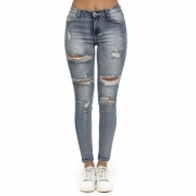 STARTUP JEANS PANTALONI DONNA CON STRAPPI ROTTURE STRETCH SEXY GIRL JD2039
