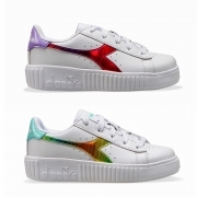 DIADORA GAME STEP RAINBOW PS GIRL SCARPE SNEAKERS BAMBINA LACCI SPORT 101.177013