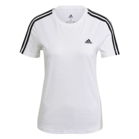 ADIDAS T-SHIRT ESSENTIALS SLIM LOGO MAGLIA DONNA COTONE STRETCH 3 STRIPES GL0783