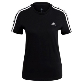 ADIDAS T-SHIRT ESSENTIALS SLIM LOGO MAGLIA DONNA COTONE STRETCH 3 STRIPES GL0784